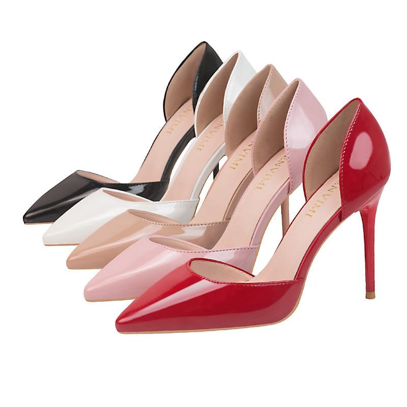 De Blanco Negro Nude blanco Plataforma Brillo Rojo desnuda Tacones Mujeres Sexy Barco Bombas Boda Zapatos Lolita rosado rojo 2019 Extrema 68Zwxx