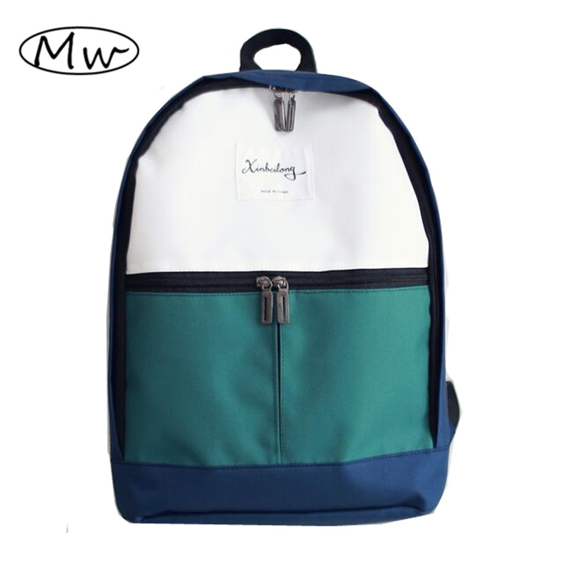 2018 Fashion Women Canvas Backpacks Patchwork School Bags For Girls Boys Casual Student Computer Backpack Mochila Rucksack M285 children school bag minecraft cartoon backpack pupils printing school bags hot game backpacks for boys and girls mochila escolar