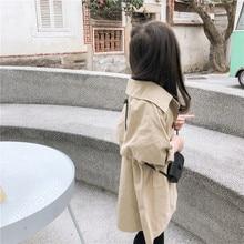 Весенне-осеннее пальто для девочек новое поступление, корейский стиль, хлопковая, однотонная, длинная, стильная, универсальная ветровка, модная, для маленьких девочек и мальчиков