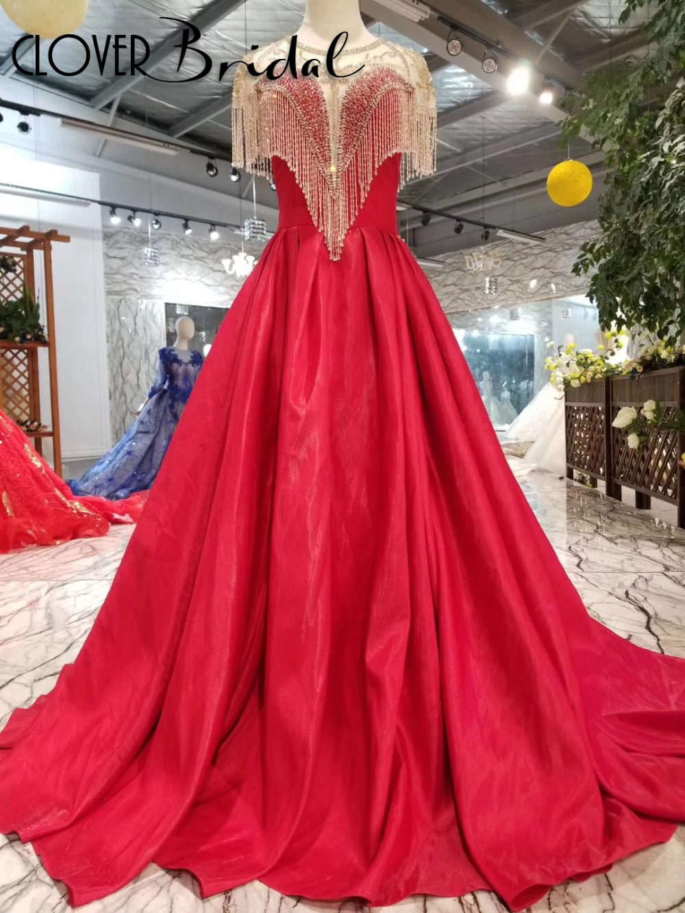 CloverBridal luxury crystals tassels high quality red satin   prom     dresses   2019 keyhole back illusion neck gala   dress   long