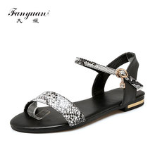 Fanyuan 2019 size 34-46 New genuine leather women sandals buckle strap summer flat sandals ladies Leopard casual shoes woman muyang mie mie women sandals 2018 new summer shoes woman genuine leather flat sandals fashion casual sandals women