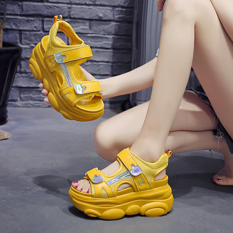 2019 Summer Women Sandals Thick Bottom Wedge Platform Sandals Ladies Ankle Strap Open Toe Shoes Woman White yellow
