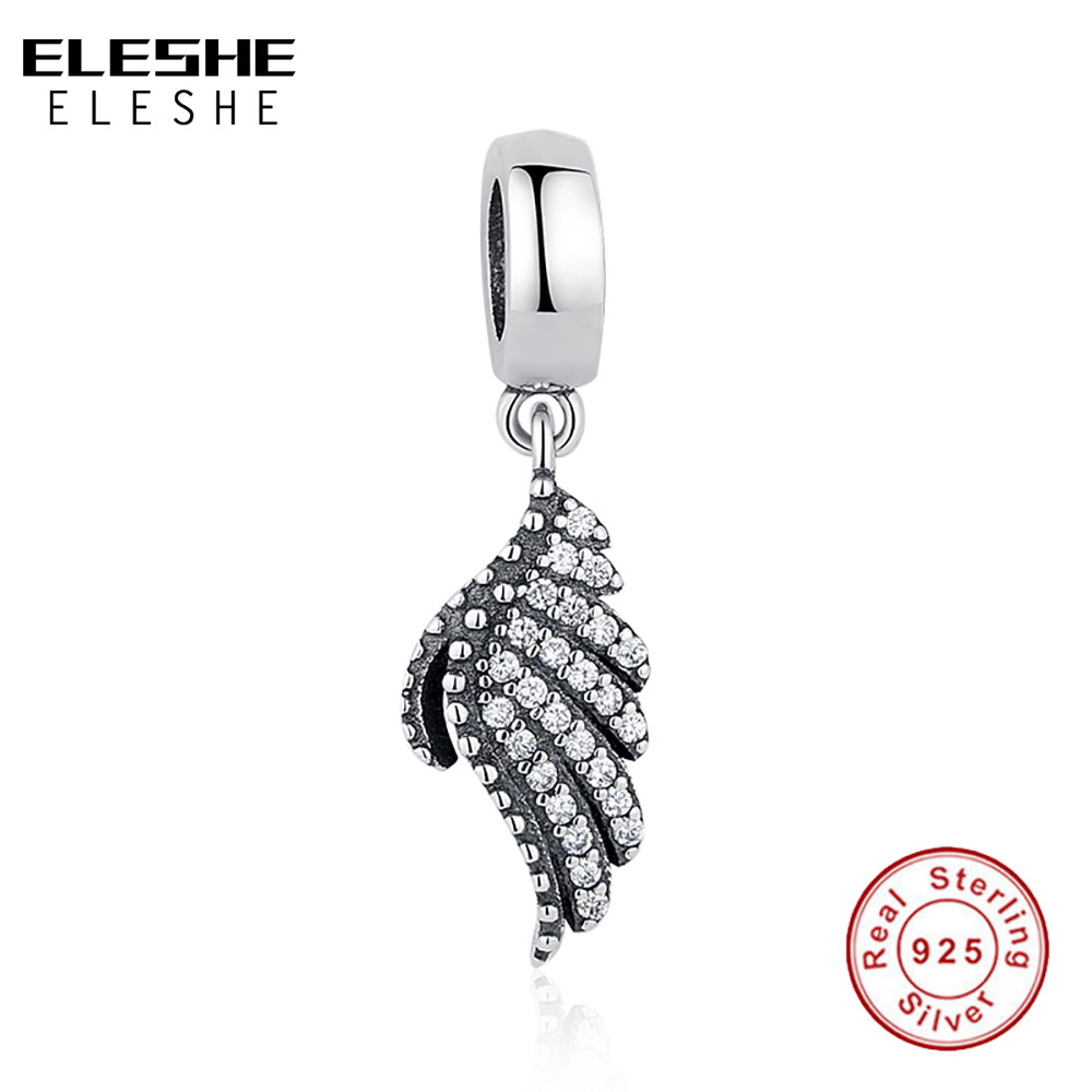 Weihnachtsgeschenk Charms Fit Original ELESHE Armband Halskette 925 Sterling Silber Majestic Feather Fly, Clear CZ Charms Beads