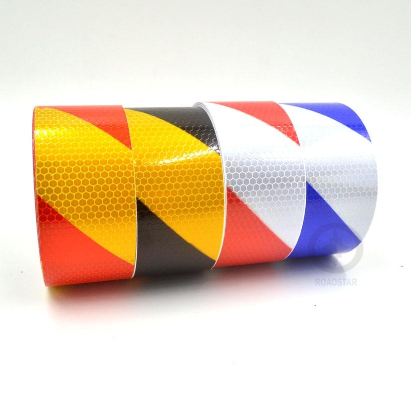 50 мм X 10 м невеликий квадратний самоклеючий світловідбиваюча попереджувальна стрічка з червоним білим, жовтим червоним, жовтим чорним, синім білим для автомобіля