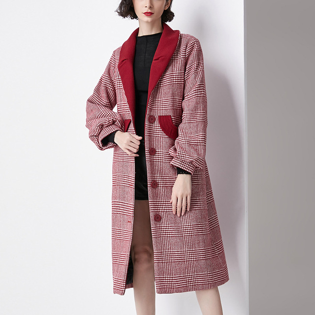 women's clothes red plaid lantern sleeves over the knee long wool coat Autumn and winter coat ladies down parka down jacket