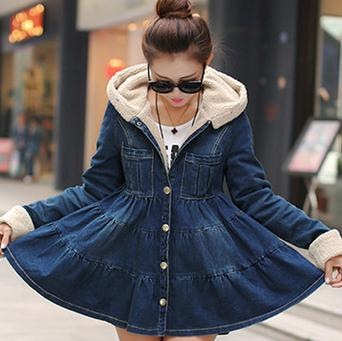 new arrival fleece wadded jacket medium-long slim plus size denim thickening outerwear cotton-padded jacket women's 2015 new mori girl medium long thickening with a hood color block decoration cotton padded jacket wadded jacket