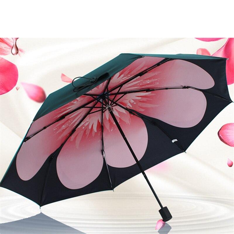 Trois plis engrenages de pluie parapluie protection solaire manuelle parapluies protection UV 8 os pour les femmes