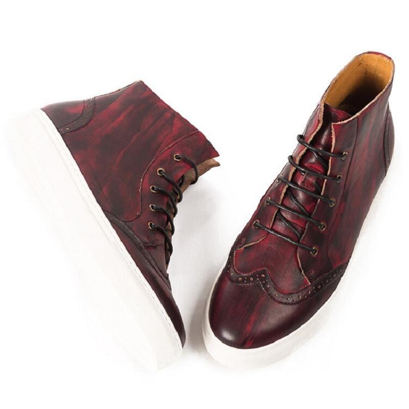 Zapatillas Plimsolls Casual Masculinos Alta Up Couro Marrom vermelho Sapatos Nova Hombre Mycolen Alpercatas Lace Flats De Calçado Top Homens f8xZgwq7