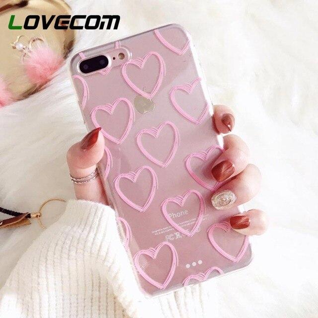 LOVECOM чехлы для телефонов iPhone XS Max XR XS X 5 5S SE 6 6 S 7 8 Plus ультратонкая розовая в виде сердца Мягкая ТПУ Прозрачная задняя крышка для телефона