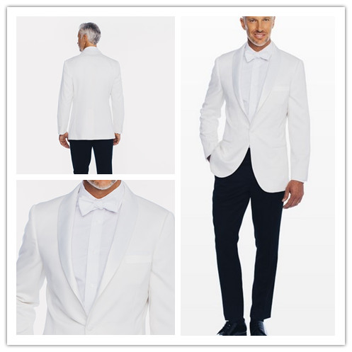 New Groom Tuxedos Mans Prom Suits Wedding Suit For Men Best Man Tuxedos Slim Fit white jacket with black pants for wedding