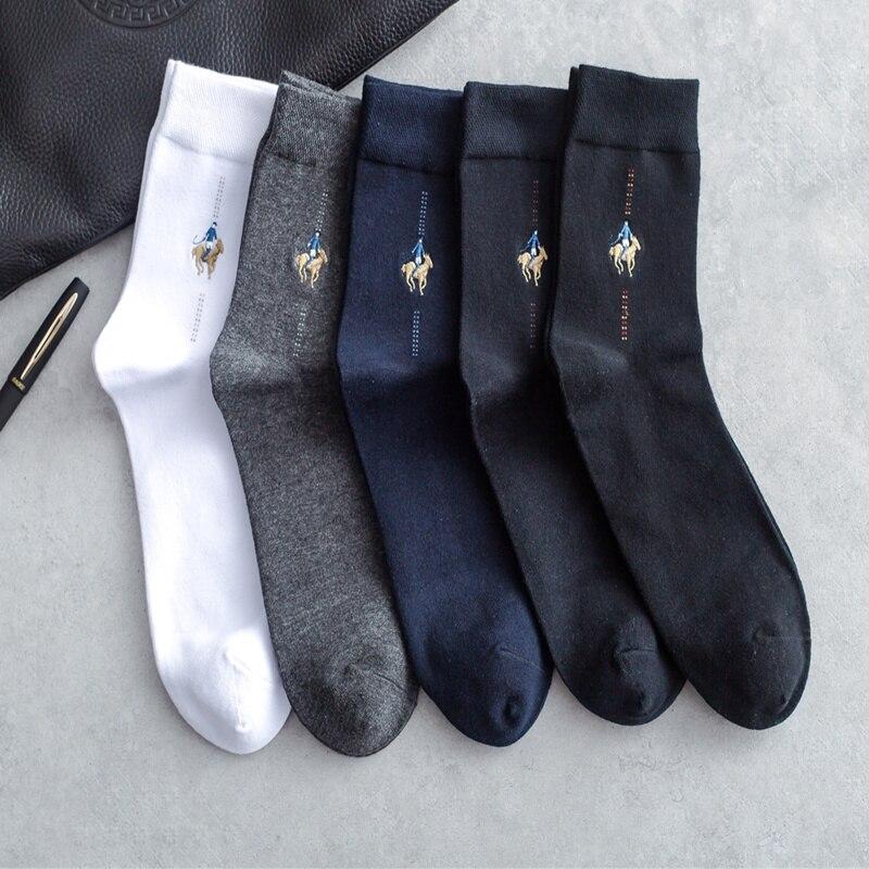 20 пар/лот осенние и зимние Pier поло чёсаный хлопок вышивка мужчины Носки вертикальные полоски толстый мужчина Носки оптовая продажа