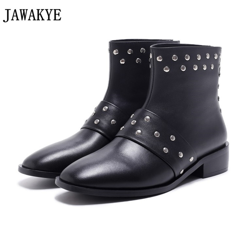 Autumn Winter black middle heel genuine leather ankle boots for women rivets studded casual short boots punk martin shoes mujer цена 2017