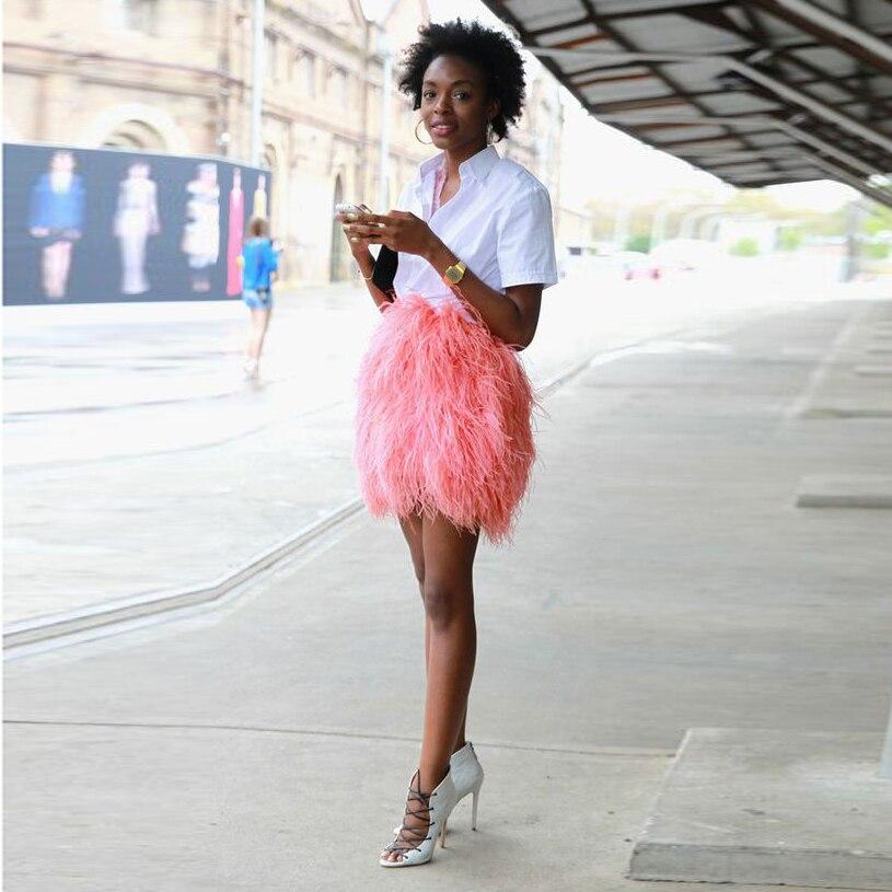 Falda Chic Coral Color Short Feather Skirts For Women Zipper Style High Street Short Femal Maxi Skirt Sexy Pencil Sais 2017