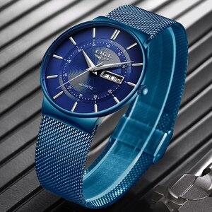 Image 3 - 2019 yeni mavi kuvars saat LIGE Mens saatler üst marka lüks erkekler için basit tüm çelik su geçirmez kol saati Reloj hombre