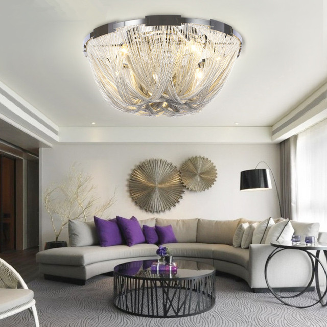 Französisch Aluminium Kette LED Decke Licht Leuchten Moderne Hängende Lampe  für Wohnzimmer Suspension Leuchte Lustre Drop Beleuchtung