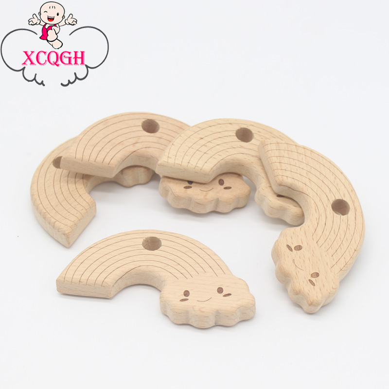 XCQGH 5/10Pcs Baby Teethers Wonderful Rainbow Pattern Wooden Teether Chew Teething Toys DIY Pendant Teething Necklace