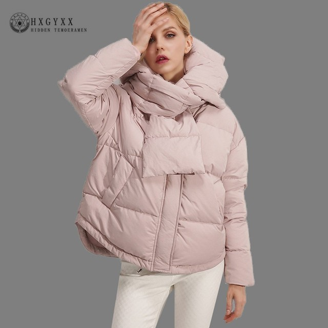 86cfa596c02c7 New Short White Duck Down Jacket Women Winter Goose Feather Coat With Scarf  2019 Hooded Parka Thick Warm Loose Outerwear Oke119