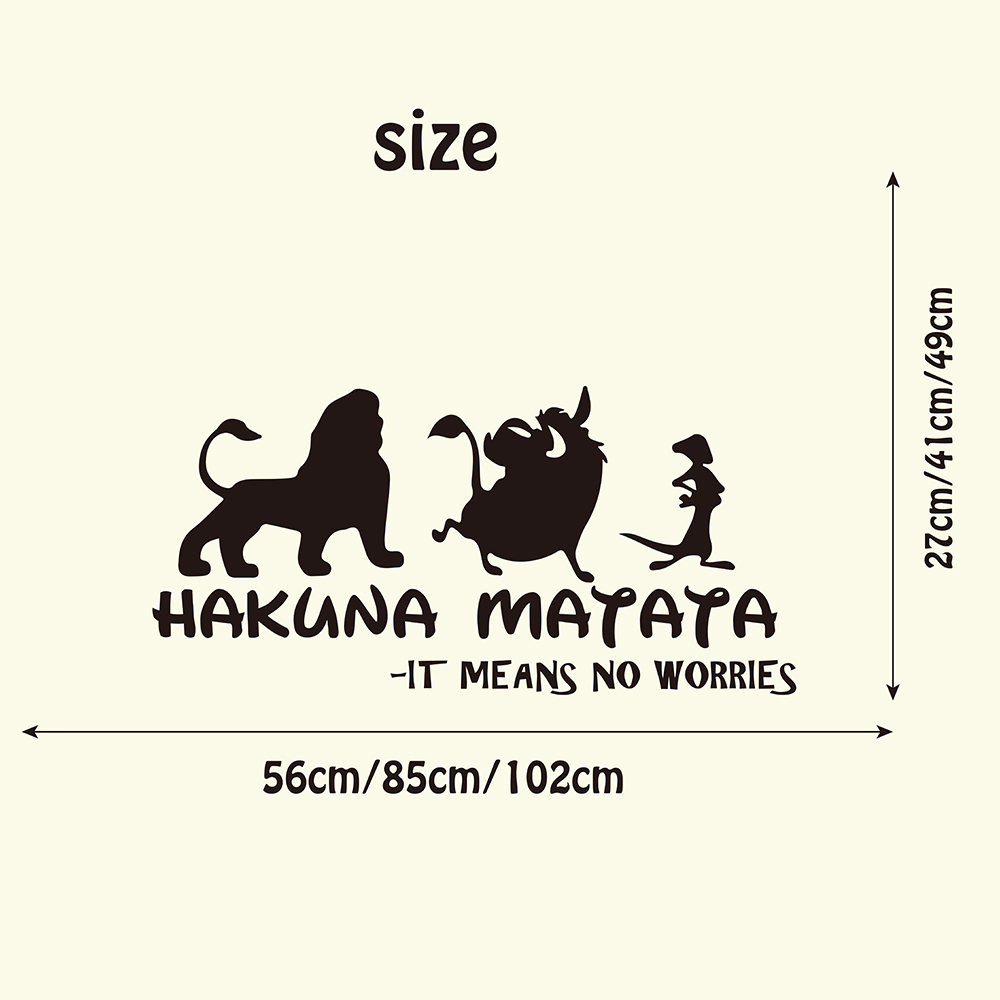 HAKUNA MATATA Lion King Quote Wall Decals Kids Room Nursery It Means No  Worry Quote Simba Timon Pumb Wall Sticker Bedroom Vinyl