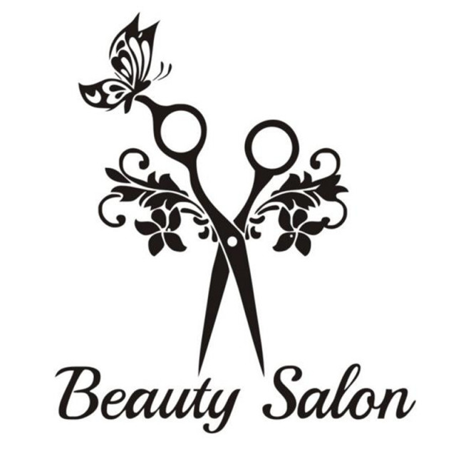 Beauty Salon Quote Wall Sticker Art Scissors Butterfly