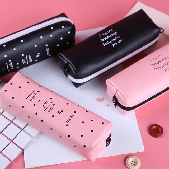 Cute Pink pencil case for girls Kawaii Black white Dot Pu ...