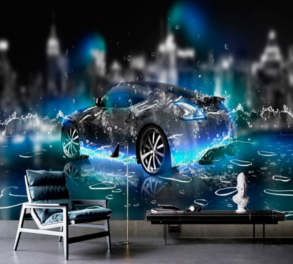 Free Shipping 3D Custom Wallpaper Stereo Water Sports Car