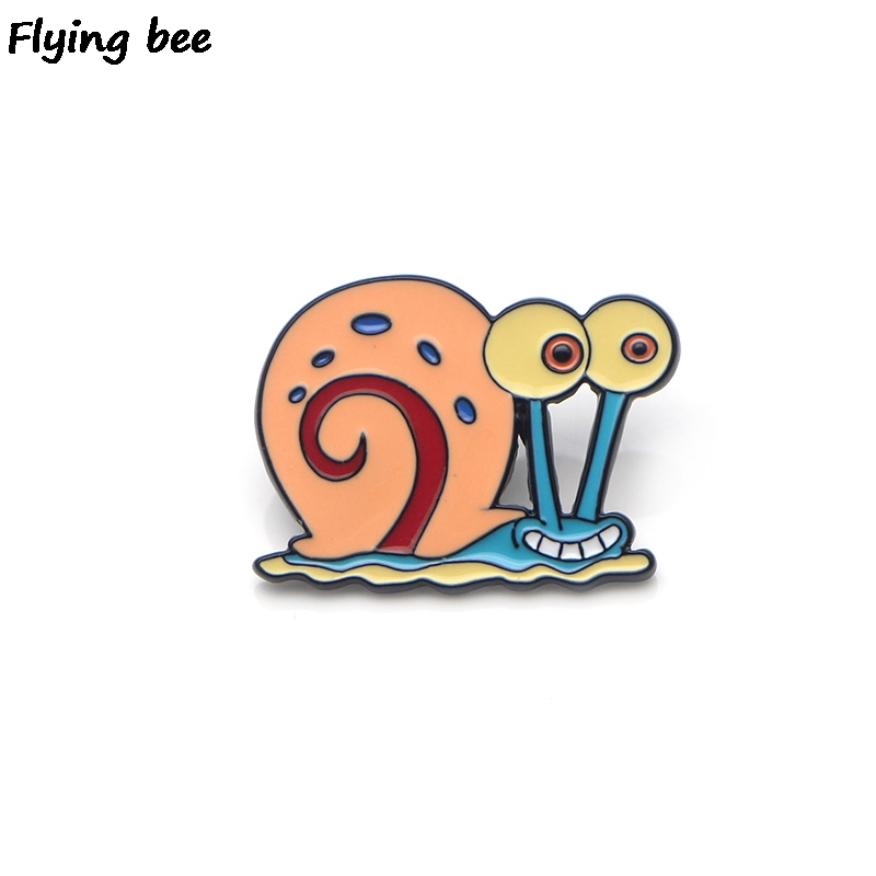 Flyingbee Kawaii Gary Snails Enamel Pin For Clothes Bags Backpack Badge Personality Brooch Shirt Lapel Pins X0204