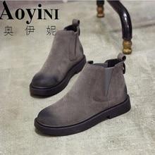 Г. Зимние женские ботинки черные женские ботильоны без шнуровки, зимняя женская обувь на низком каблуке размер 35-40, однотонная женская обувь