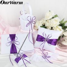 OurWarm Bridal Ring Cushion Pillow Diamond Wedding Double Heart Bowknot Soft Satin Ribbon Decor Party Purple