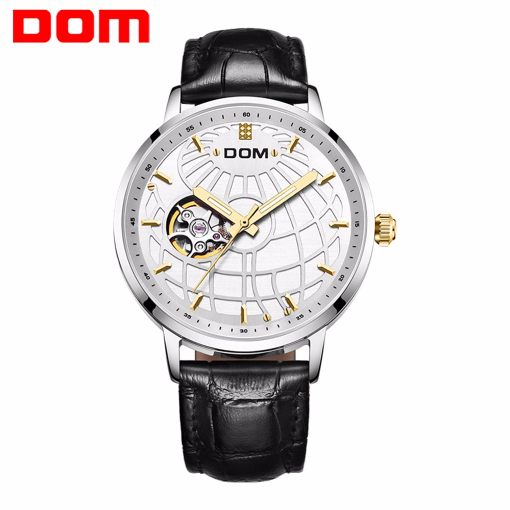 лучшая цена DOM Automatic Watch Self-Wind leather Strap Antique Vintage Waterproof Top Brand Luxury Skeleton Mechanical Watches Male M-8100