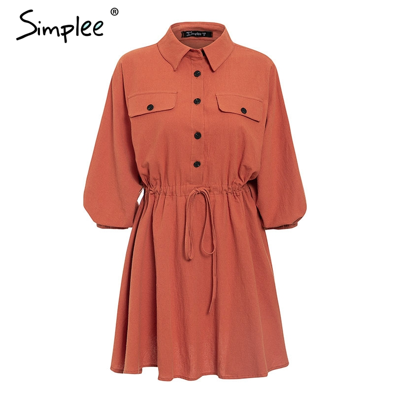 Simplee Elegant linen short shirt dress women Long sleeve cotton dress buttons female vestidos Vintage summer dresses casual 20