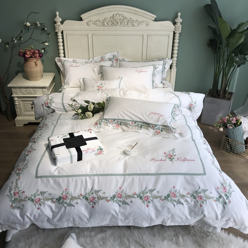 Pink White luxury Pastoral Flower Embroidery Silk Cotton Bedding Set Duvet Cover Bed sheet Bed Linen PillowcasesPink White luxury Pastoral Flower Embroidery Silk Cotton Bedding Set Duvet Cover Bed sheet Bed Linen Pillowcases