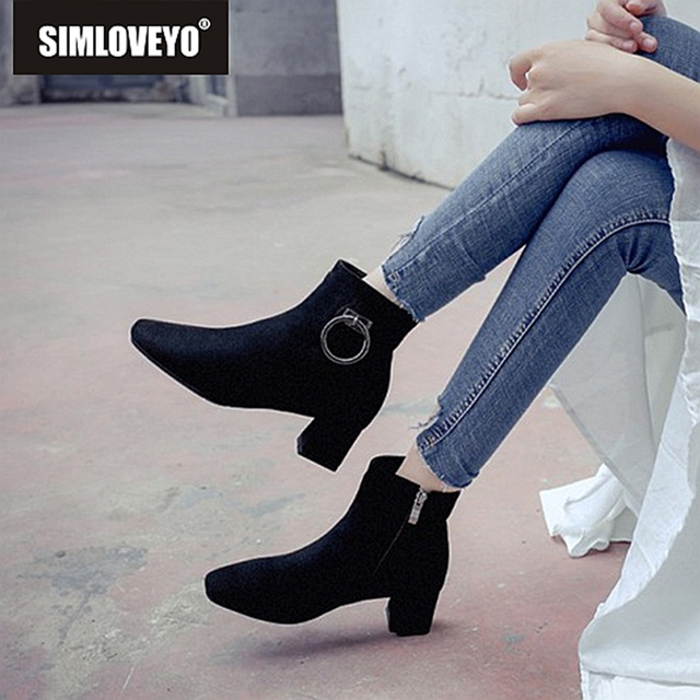 7fa69d46c02 SIMLOVEYO 2019 New Circle ankle boots women plush zipper solid winter  fashion boots Flock Black Grey Apricot Botas mujer A1510