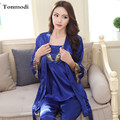 2017 New Nightwear For Women Luxurious Silk Sling Nightgown Trousers Sexy Noble Robe 3 Picecs/Set