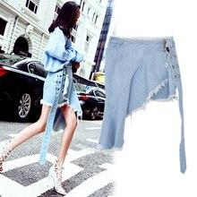 New fashion high waist jeans skirts in the summer of burrs irregular recreational skirt