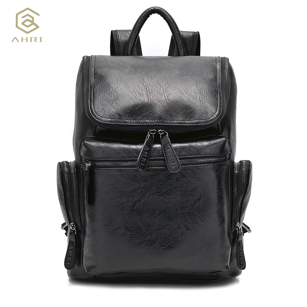 AHRI NEW Men Backpacks for Bags PU Leather Men's Shoulder Bags Fashion Male Business Casual Boy School Boys Vintage Backpack Men brands leather school backpacks for boys black fashion designer school bags hooded travel men backpack rainproof luggage new