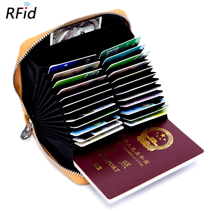 Men Women Leather Card Holder Simple Solid Color Cards Pouch Retro Design Credit Card Pack 24 Card Slots Holders Passport bag u pouch design color block splicing letters print men s boxer brief