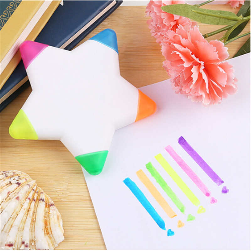 5colors/pc Diy Cute Kawaii Plastic Highlighter Marker Pen For Kids Gift Office School Supplies Creative Stationery Novelty Item