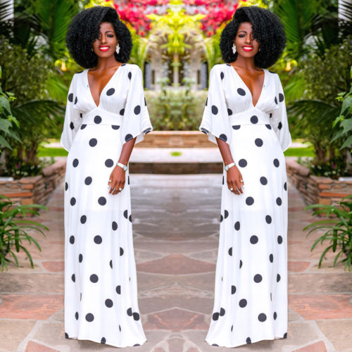 Summer New Fashion Women Three Quarter Sleeve Deep V Polka Dot Print Elegant Lady Boho Long Maxi Dress Sundress