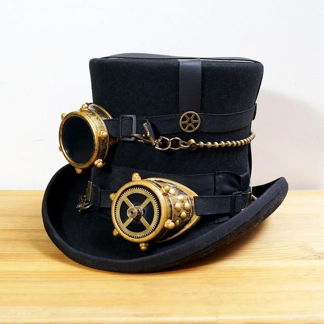 Black Women Men 100% Wool DIY Fedora Hat Steampunk Hat Steam Punk Gear  fedoras Hat Millinery Steampunk Goggles DIY Handmade Cap f177a8176ad