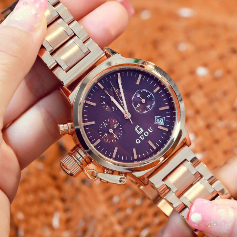 GUOU Fashion Women's Watches Rose Gold Calendar Luxury Ladies Wrist Watches Women Watch Full Steel Clock relogio feminino guou official brand diamond wrist watches fashion pendant women luxury rose gold watch full steel clock relogio feminino gifts
