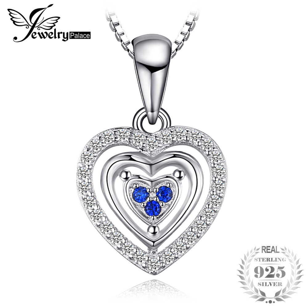 Heart Love Round Created Blue Spinel Pendant 100% 925 Sterling Silver Woman Fashion Jewelry Not Include A Chain