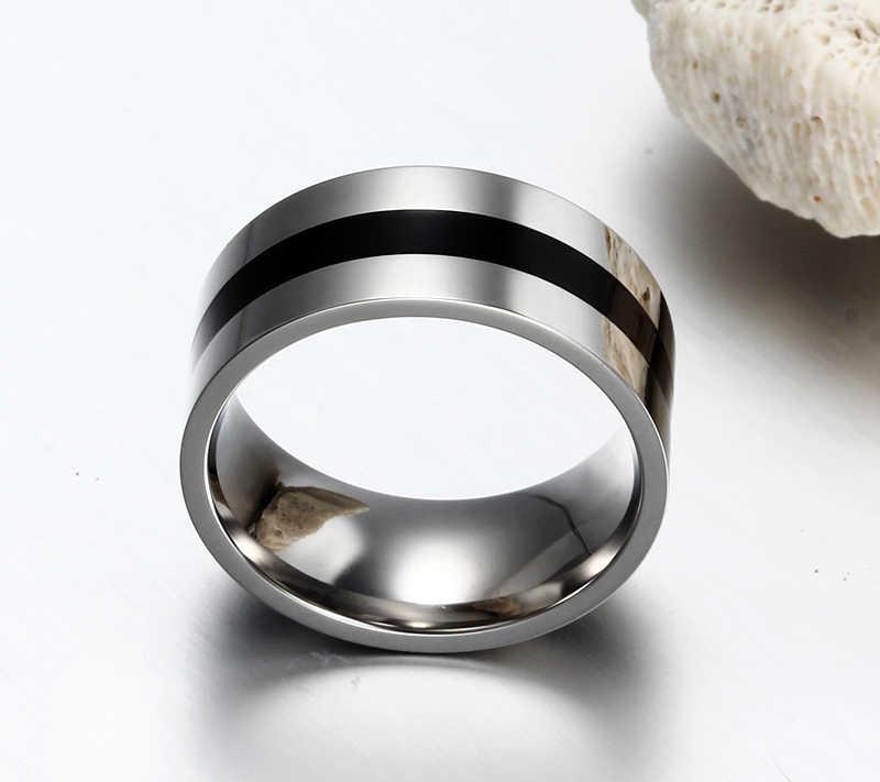 Meaeguet กว้าง 9 มม.สแตนเลสสตีลแหวนเคลือบสีดำออกแบบขัดแหวนผู้ชายเครื่องประดับ USA ขนาด