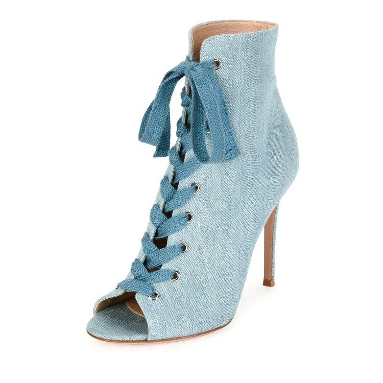 Denim Tacco Sexy Alto Blu Luce Lace Up As Peep Moda Toe as Donne Spring Black Size42 Stivaletti Dress Stivali Satin Picture Picture Boot Hot Signore zEYq4Ww