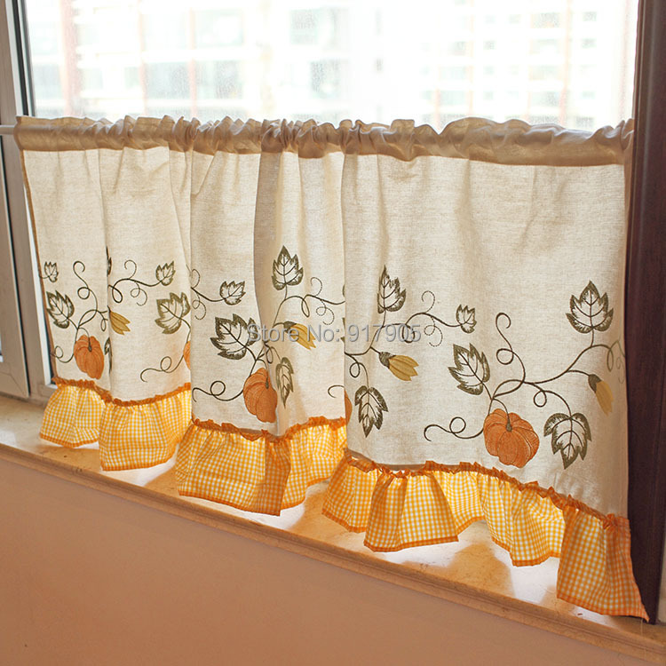 Unique Pumpkin Embroidered Kitchen Curtains Brand Cotton Linen Short  Curtains For Living Room Designer Rustic Window Curtain In Curtains From  Home U0026 Garden ...