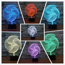 2017 Innovative Windmill Fan 3D illusion LED Lamp 7 Colors Changing RGB Controler Acrylic Tablet Night Lighting Kids Toys Gift