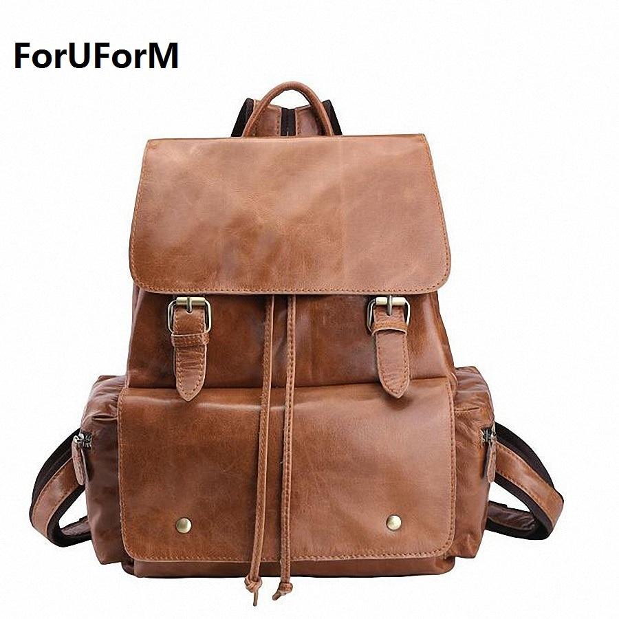 100% Genuine Leather Backpack Laptop Bag Mens Casual Daypacks Men's Travel Bags Cowhide school backpack Mochila LI-1521 pabojoe women mens school backpack italian 100% genuine leather fashion book bag college daypack black fit 15inch laptop