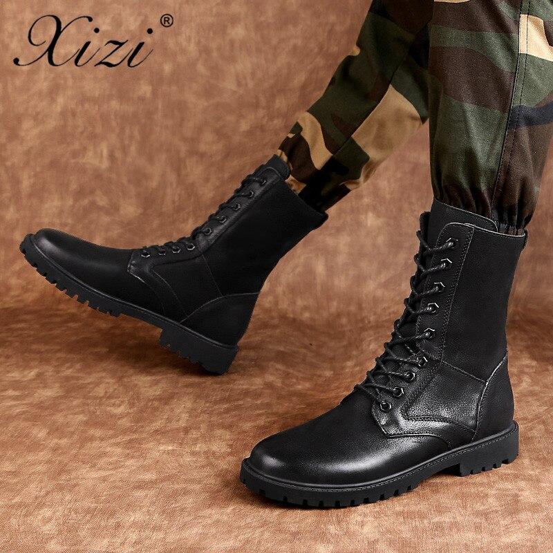 Vintage Boots Nouvelle Étanche Hommes Split 2018 Bottes Hiver gris Combat Chaussures Fourrure Motorcycle De Noir Cuir Vache Militaire Boucle Boot Xizi En CqtwAEE