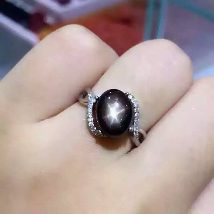 Natural Starlight black sapphire gem Ring Natural gemstone ring S925 sterling silver trendy big round environ women gift JewelryNatural Starlight black sapphire gem Ring Natural gemstone ring S925 sterling silver trendy big round environ women gift Jewelry