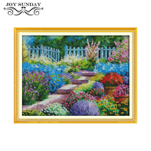 Joy Sunday Colorful Rural Cross Stitch Scenic Pattern 11CT 14CT Counted Printed Canvas DMC Needlework Sets for Embroidery