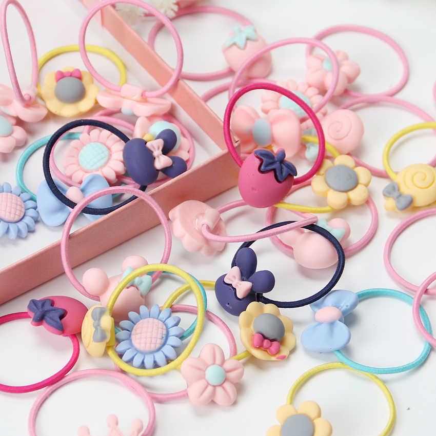20PCS ใหม่แฟชั่น Frosted ยืดหยุ่นยางวงผมสาวดอกไม้ผู้ถือหางม้า Headband การ์ตูนผสมผมแหวน